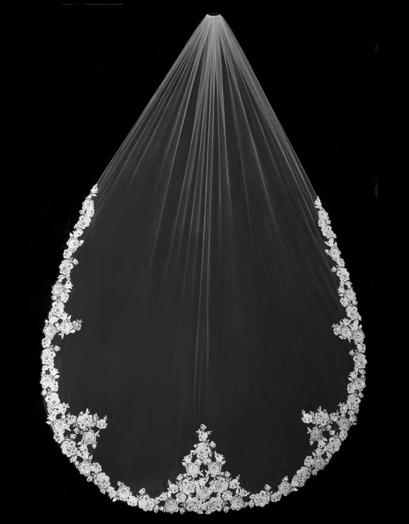 """144"""" Long Regal Cathedral Wedding Veil with Beaded Rose Alencon Lace"""