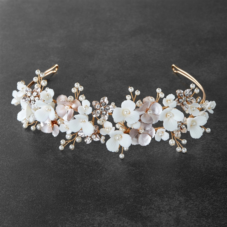 Pink and Ivory Floral Headband Tiara with Gold Leaves