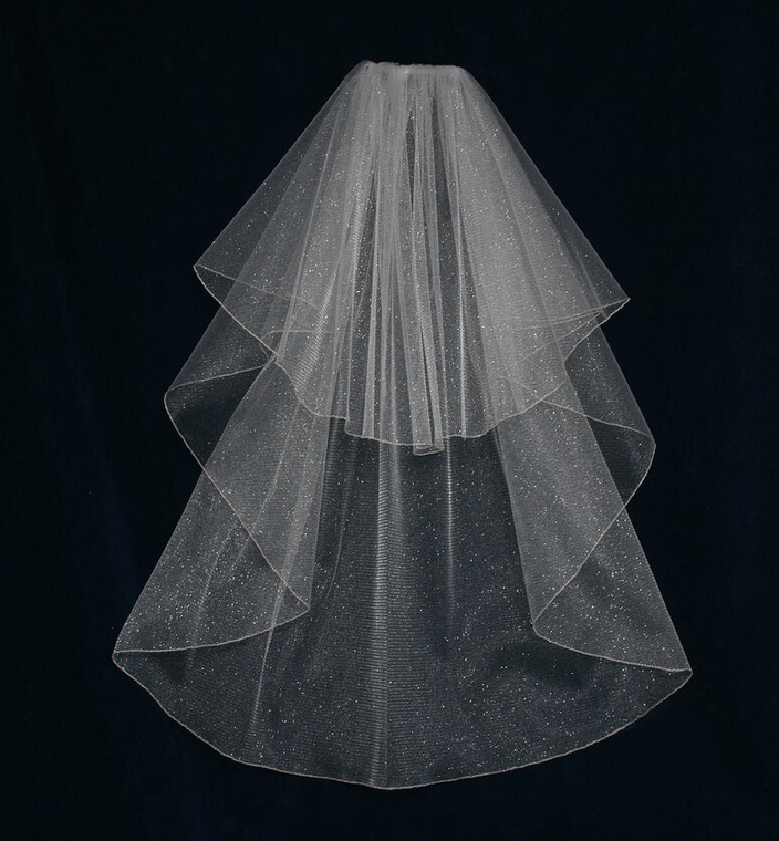 Two Layer Angel Dust Tulle Fingertip Length Wedding Veil V6740