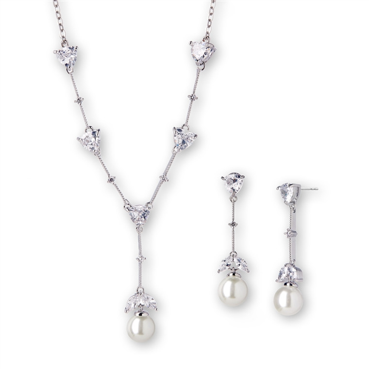 Light Ivory Pearl and CZ Wedding Jewelry Set