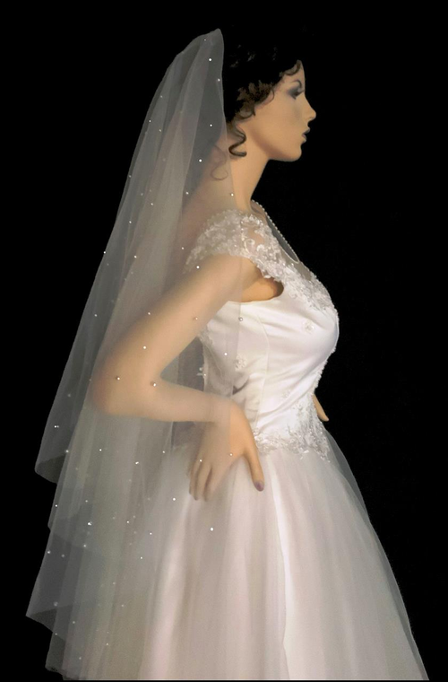 """Scattered Pearl Two Layer 50"""" Long Wedding Veil Flat on Comb"""