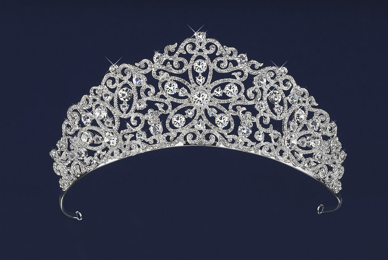 Silver or Gold Floral Scroll Wedding and Quinceanera Tiara