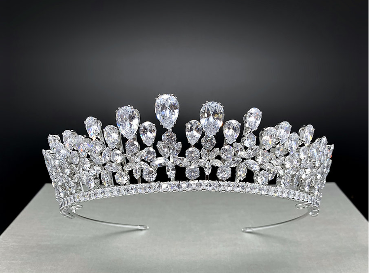 Silver or Gold CZ Wedding and Quinceanera Tiara hp4776