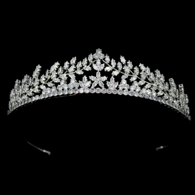 Floral Marquise CZ Crystal Wedding Tiara hp7331