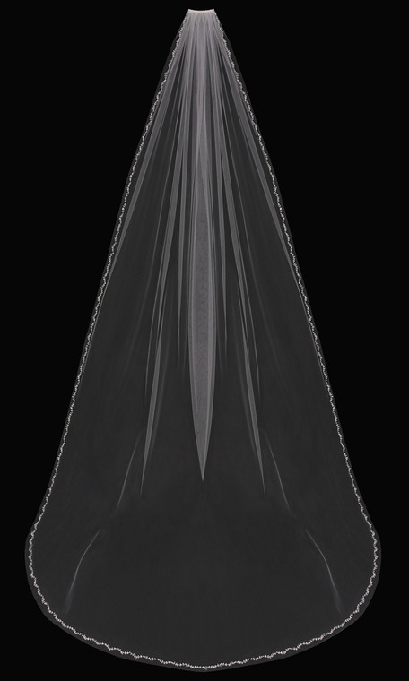 Cathedral Wedding Veil With Pearl Beaded Vine Design V803C