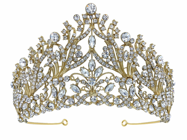 "Stunning 3"" Tall Silver or Gold  Wedding and Quinceanera Tiara"