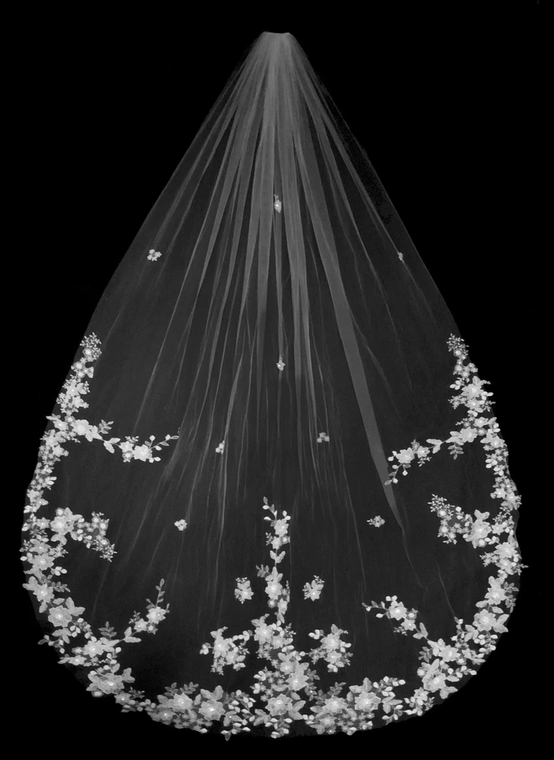 Royal Cathedral Wedding Veil with Romantic Floral Lace V3258R