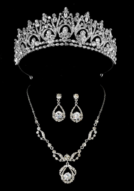 Silver Rhinestone Bridal and Quinceanera Tiara with Jewelry Set