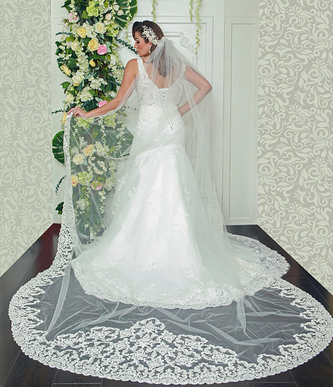 Stunning Royal Cathedral Lace Wedding Veil with Extra Width