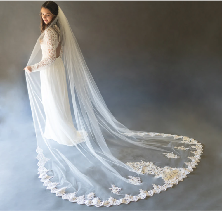 Beaded Lace Applique Cathedral Wedding Veil with Extra Width