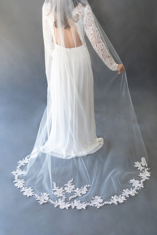 Hand Made  Beaded Lace Applique Cathedral Wedding Veil