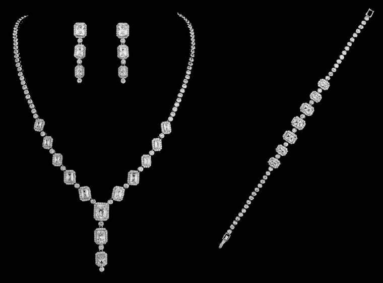 Gorgeous CZ Drop Bridal Jewelry Set with Bracelet in Silver Plating