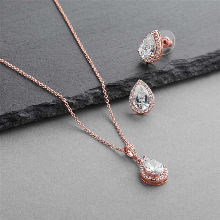 5 Sets Rose Gold Plated Pear Shape CZ Bridesmaid Jewelry