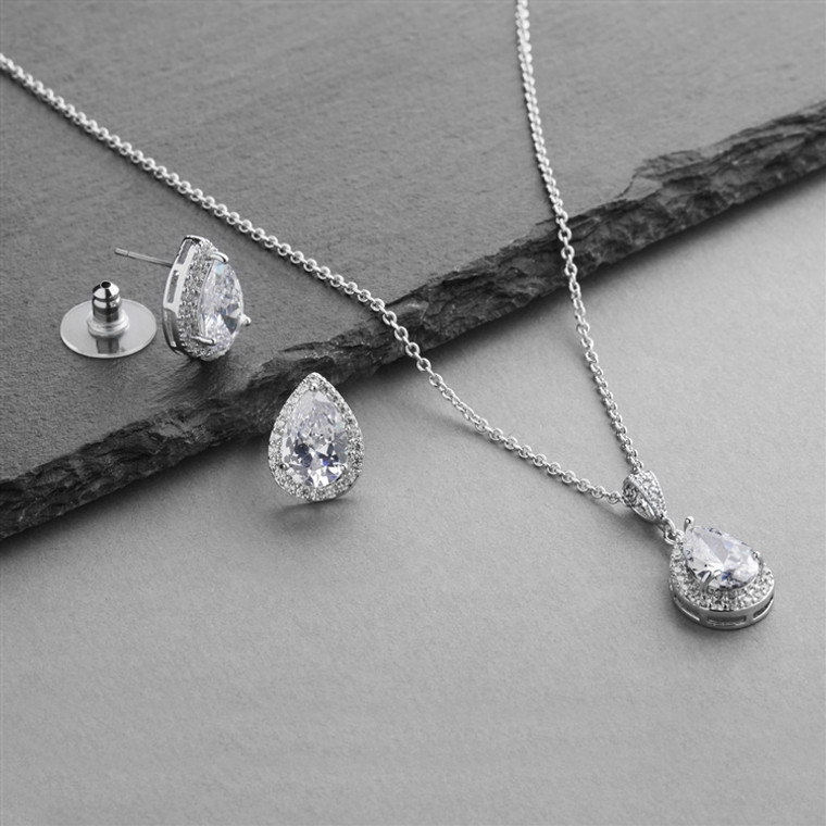 5 Sets Brilliant Silver Plated Pear Shape CZ Bridesmaid Jewelry