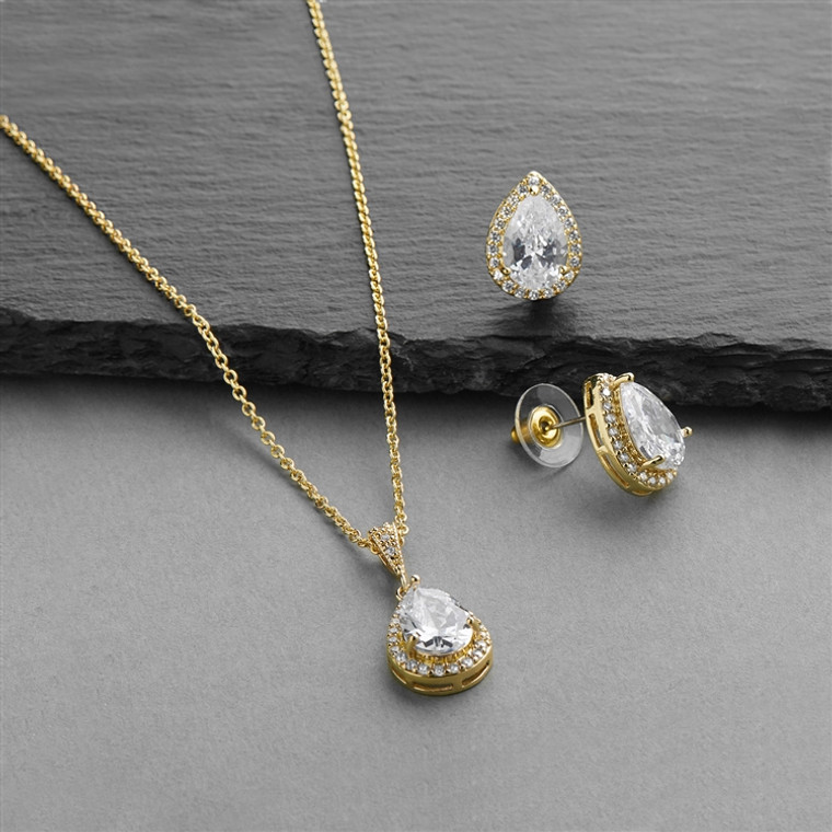 5 Sets Gold Plated Pear Shape CZ Bridesmaid Jewelry