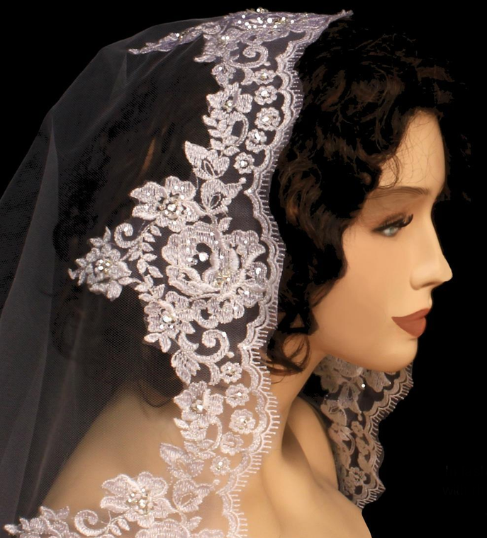 Regal Cathedral Beaded Lace Edge Mantilla Extra Width Wedding Veil