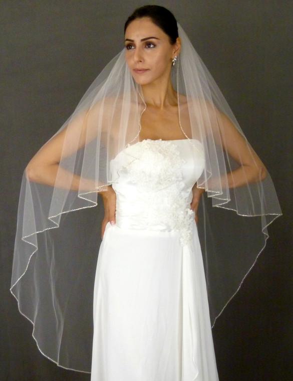 Angel Cut Bugle Bead Edge Knee Length Wedding Veil