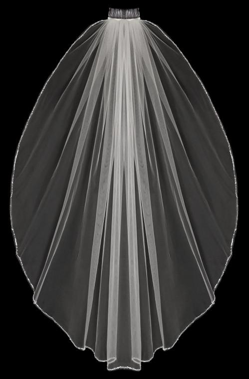 Frosted Bugle Bead Edge  Knee Length Wedding Veil