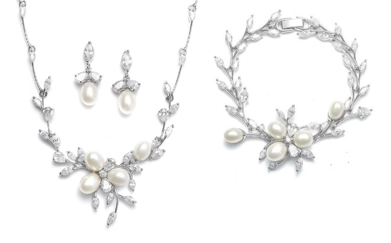 Freshwater Pearl and CZ Wedding Jewelry Set with Bracelet in Silver