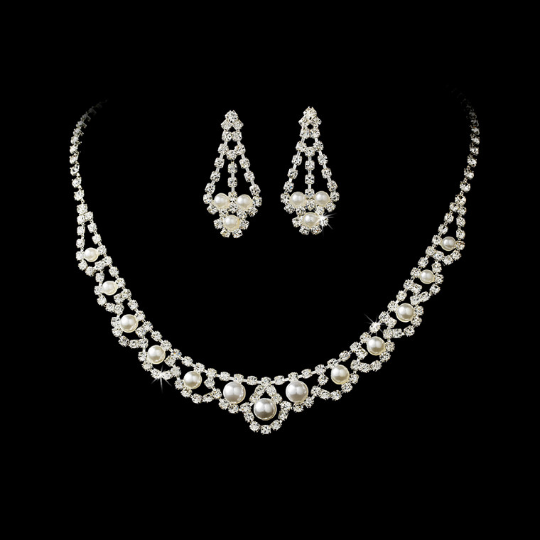 Silver Plated White Pearl and Rhinestone Wedding Jewelry Set