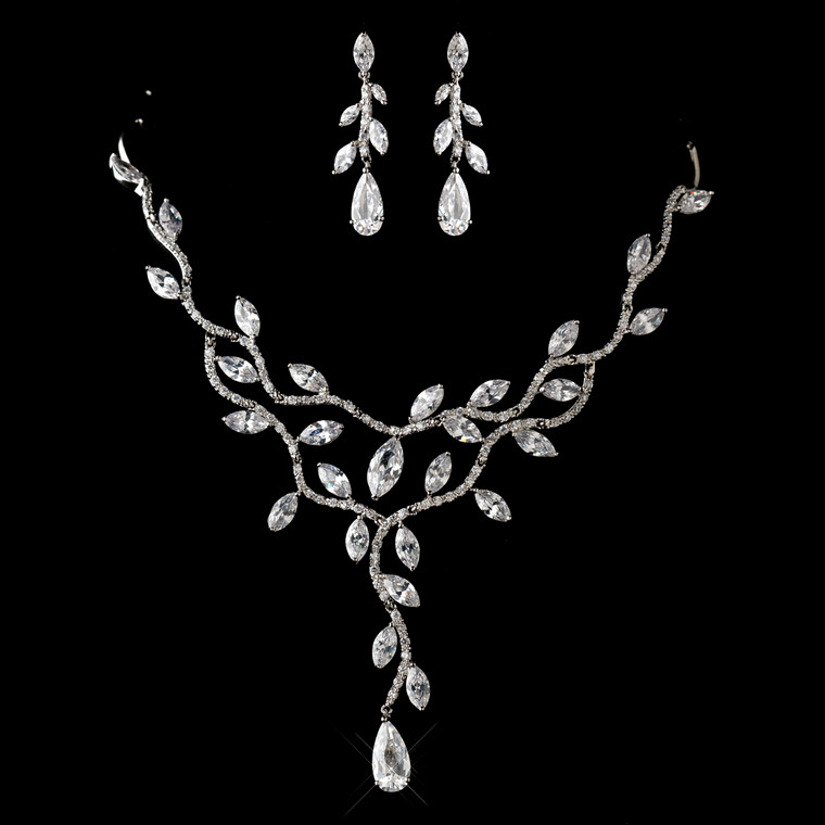 Cubic Zirconia Vine Design Wedding Jewelry Set