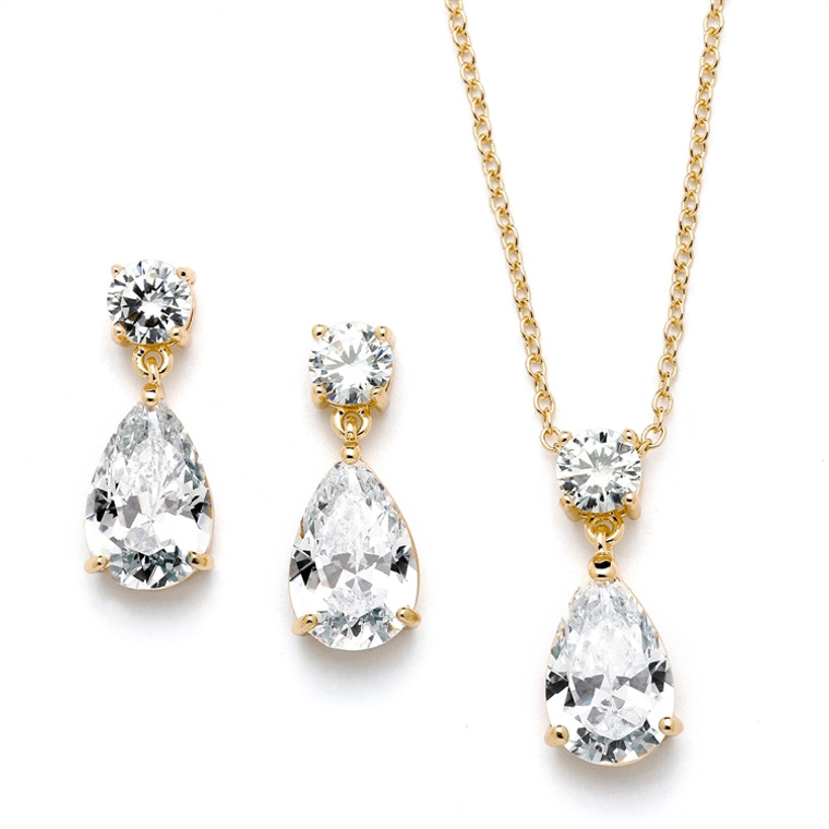 Simply Elegant 14K  Gold Plated CZ Bridal and Bridesmaid Jewelry
