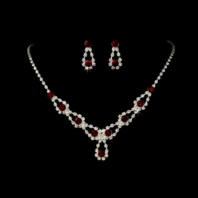 5 Boxed Sets Red Crystal Bridesmaid Jewelry