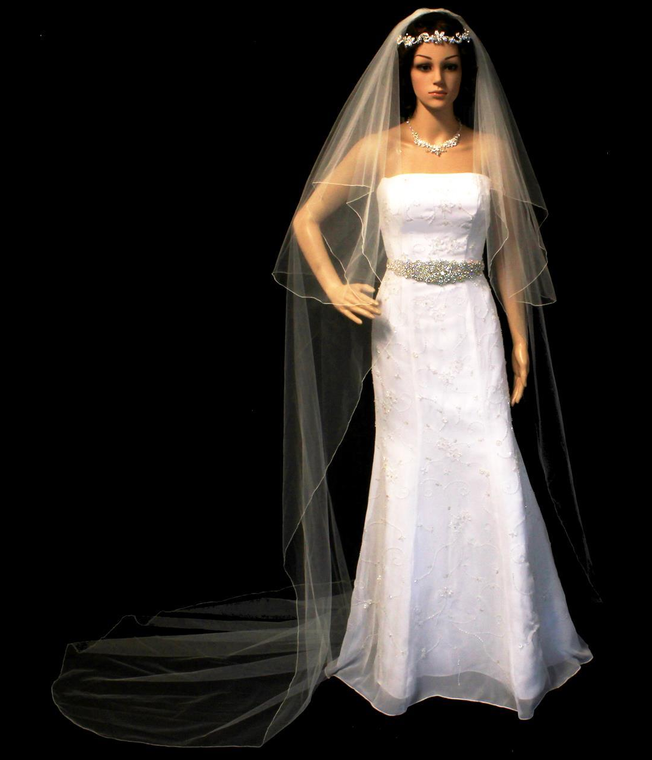 Two Layer Cathedral Length Wedding Veil with Embroidery Pencil Edge