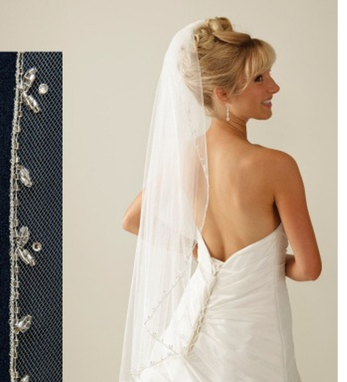 Beaded Vine Edge Cathedral Wedding Veil C342cathedral