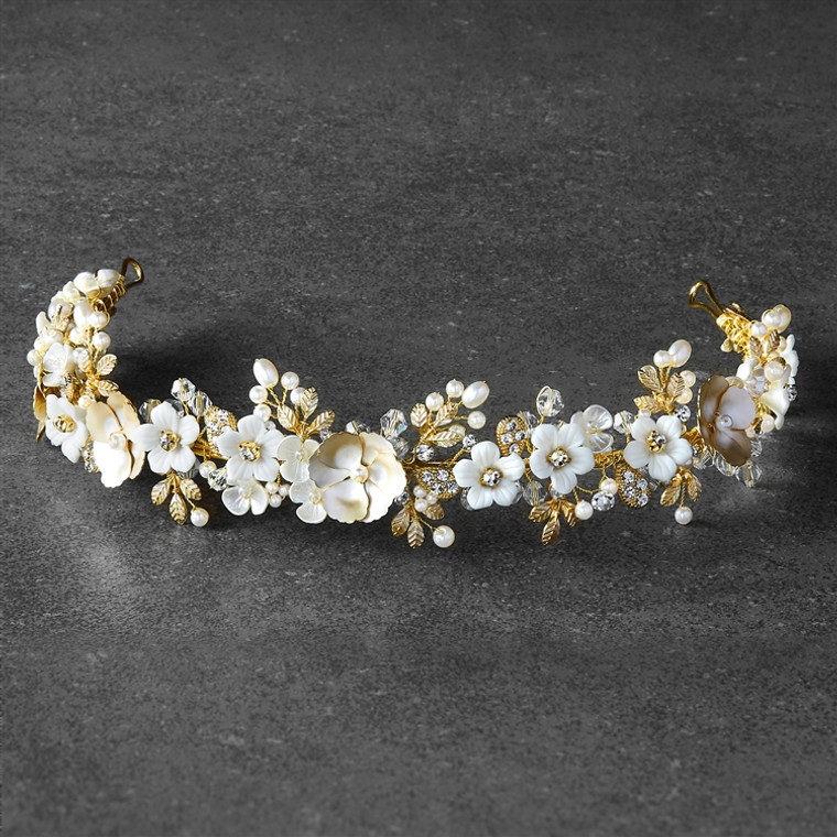 Gold and Ivory Floral Headband Tiara with Pearls