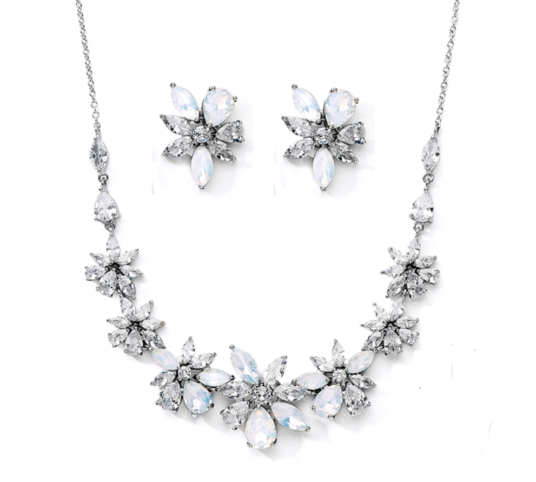 CZ and Opal Crystal Starburst Silver Plated Wedding Jewelry Set