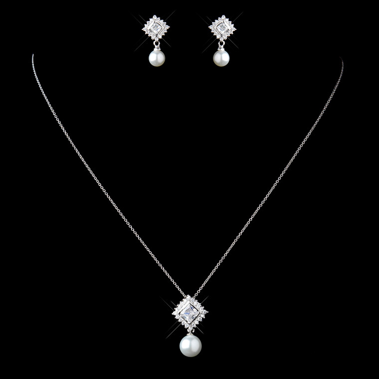 Sterling Silver CZ and Pearl Pendant Wedding Jewelry Set