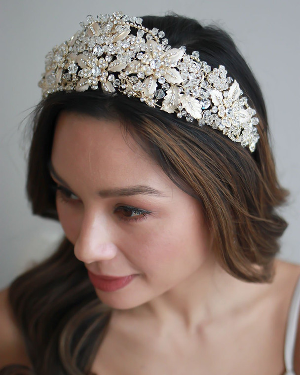 Bold Gold Plated Floral Crystal Wedding Tiara