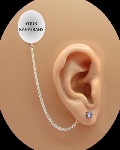 CZ Stud Earring (5 mm) - Tanzanite - Sterling Silver Chain