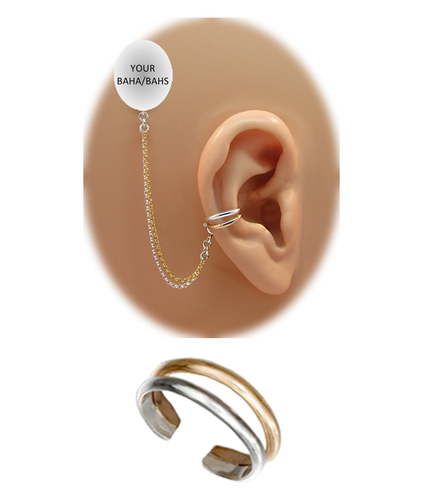 """""""2 Band"""" Ear Cuff - Sterling Silver and 12K Gold Fill"""