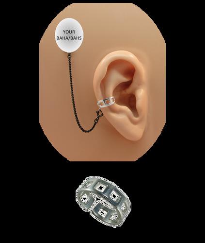 """Square Hole"" Ear Cuff - Oxidized Sterling Silver"