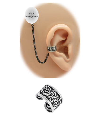 """Celtic"" Ear Cuff - Oxidized Sterling Silver"