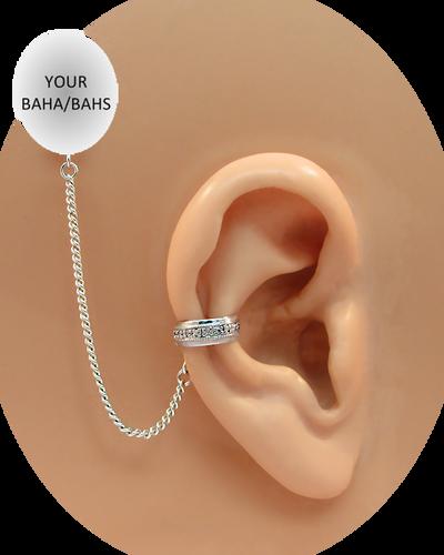 """""""CZ Band"""" Ear Cuff - 10K White Gold"""