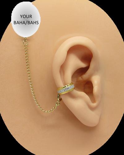 """""""CZ Band"""" Ear Cuff - 10K Yellow Gold"""