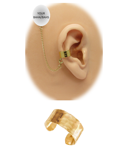"""""""Hammered"""" Ear Cuff - 1/4"""" Solid Band in 12K Gold over Sterling Silver"""