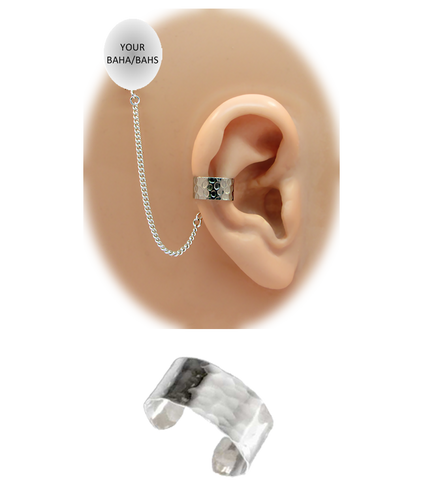 """""""Hammered"""" Ear Cuff - 1/4"""" Solid Band in Sterling Silver"""