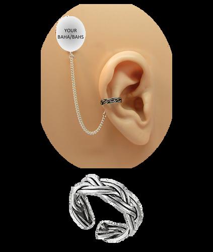 """""""Double Braid"""" Ear Cuff - Oxidized Sterling Silver"""
