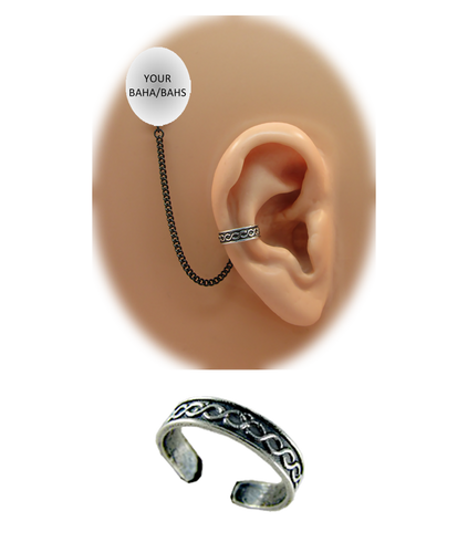 """Snake"" Ear Cuff - Oxidized Sterling Silver"