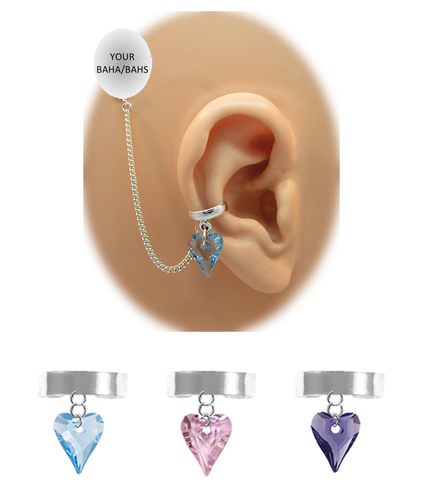"""""""Solid Band - 1/8"""" Ear Cuff"""" with Swarovski Crystal Heart - Sterling Silver Chain"""