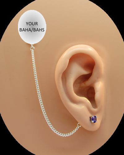 CZ Stud Earring (5 mm) - Amethyst - Sterling Silver Chain