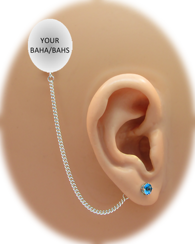 CZ Stud Earring (5 mm) - Aquamarine - Sterling Silver Chain
