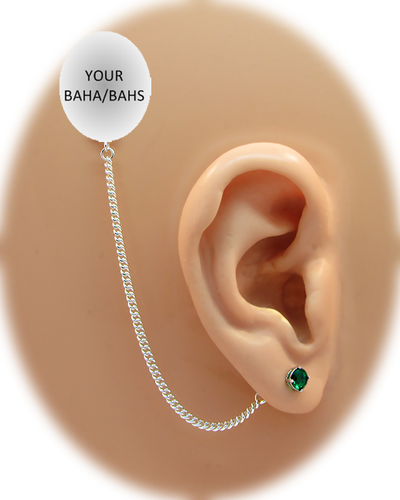 CZ Stud Earring (5 mm) - Emerald - Sterling Silver Chain