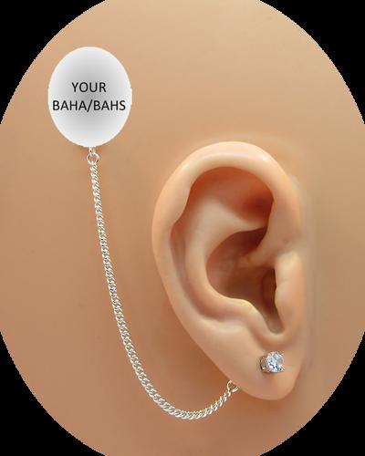 CZ Stud Earring (5 mm) - Clear - Sterling Silver Chain