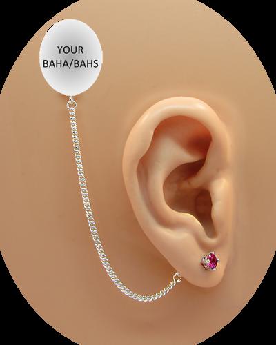 CZ Stud Earring (5 mm) - Ruby - Sterling Silver Chain
