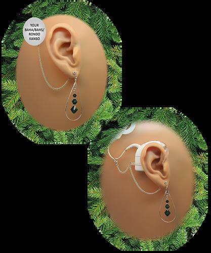 Teardrop Hoop & Crystals - Emerald